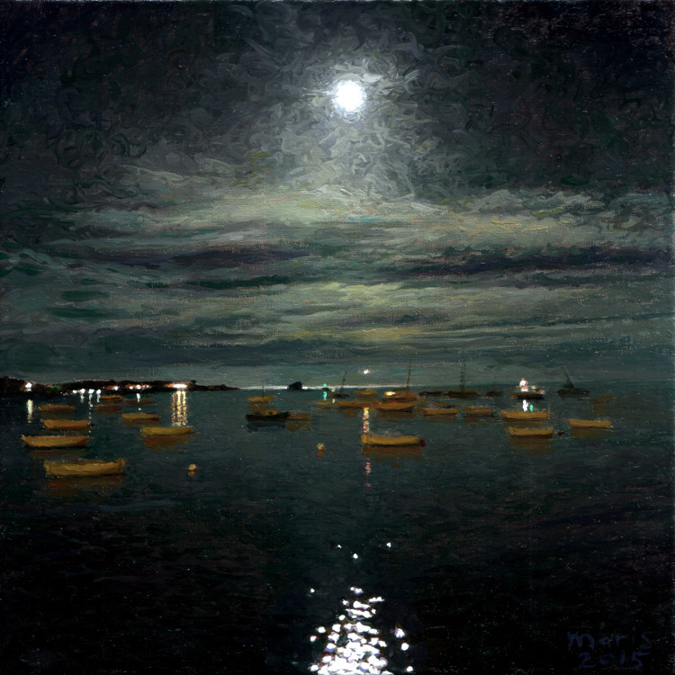 Moonlight on the bay, painting by Jan Maris